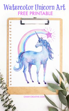 Free Printable Watercolor Unicorn Pictures - for any Unicorn loving person! Perfect for little girls decor or a whimsical teen room! Pretty Unicorn Art!