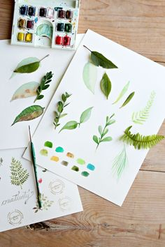 How to paint a basic leaf with watercolors.  We might just have to try painting this on glass