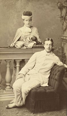 "Grand Duke Konstantin Konstantinovich Romanov of Russia and his sister Queen Olga of the Hellenes. ""AL"""