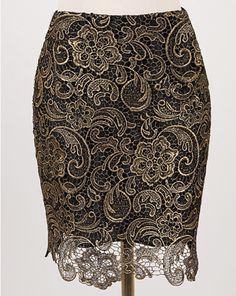 Falda encaje hueco-dorado EUR€12.86