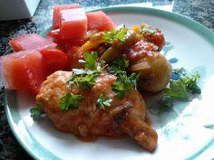 Metsästäjän kanapata (Chicken cacciatore) Chicken Cacciatore, Pork, Meat, Ethnic Recipes, Blog, Pictures, Kale Stir Fry, Photos, Blogging