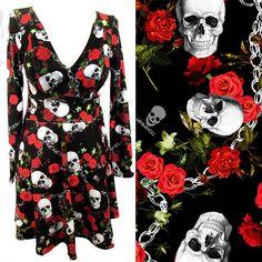 Vestido acinturado Skull