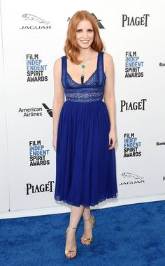 Jessica Chastain from Film Independent Spirit Awards 2016: Red Carpet Arrivals  Beauty in blue! The actress works herElie Saab dress before presenting a major award.