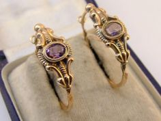 Antique Estate Georgian 9ct Rose Gold and Purple Paste Hoops/Earrings