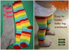 DIY tube socks into super-cute baby leg warmers. | 41 Dollar-Store Hacks Every Parent Should Know About
