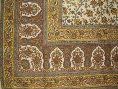 """Turkish Floral Tapestry Cotton Spread 106"""" x 70"""" Twin Beige"""