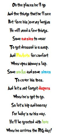 Seuss Baby Shower Gift Poem (include a Dr. Seuss book as a bonus gift) Baby Shower Poems, Baby Shower Fun, Baby Shower Gifts, Baby Gifts, Baby Showers, Shower Time, Dr Suess Baby, Dr Seuss Baby Shower, Just In Case