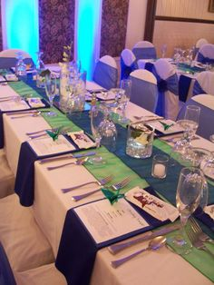 Royal blue table settings for a something blue wedding shower lm wedding reception decor junglespirit Gallery