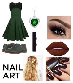 """""""Green (?)"""" by ptv-creeper-mcr-fob-spn ❤ liked on Polyvore featuring beauty, WithChic, Lime Crime, Dr. Martens, ASOS and 8 Other Reasons"""