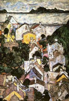 Egon Schiele, Paysage d'été - 1917 on ArtStack #egon-schiele #art