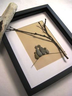 Framed beach stone Family of Four Stone Art by NATURALware