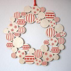 screenprinted wooden bauble christmas wreath by gilbert13   notonthehighstreet.com