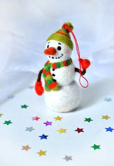 Needle felted christmas toy Snowman by Fenekdolls on Etsy, $49.50