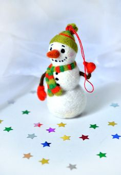 Needle felted christmas toy Snowman by Fenekdolls on Etsy, $49.50