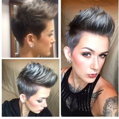 The pixie cut is the new trendy haircut! Put on the front of the stage thanks to Pixie Geldof (hence the name of this cup! Super Short Hair, Short Grey Hair, Short Hair Cuts, Short Hair Styles, Short Pixie Haircuts, Pixie Hairstyles, Pretty Hairstyles, Estilo Cool, Pelo Pixie
