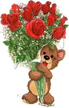 Suzy's Zoo Bear with Roses √ Zoo Clipart, Cute Clipart, Tatty Teddy, Happy Birthday Images, Happy Birthday Greetings, My Teddy Bear, Decoupage Vintage, Bear Art, Cute Bears