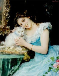 Cats in Art: Federico Andreotti was a prolific painter.. In his painting, The Favorite, he captures the well used theme of woman and cat.