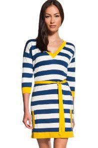 Long Sleeve Extra fine Rugby Stripe V-neck Tunic Sweater