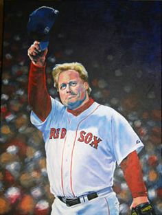 """Curt Schilling of the Boston Red Sox in   """"Last Pitch"""" by Kevin McNeil."""