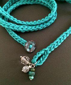 Crochet wrap bracelet / necklace teal w/ charms by CoffyCrochet