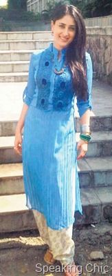 Kurta. Pintuck, blue embroidered.