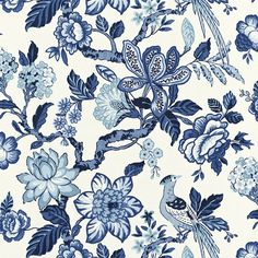 Schumacher/Huntington Gardens/Bleu Marine - master bedroom window seat throw pillows (2)