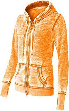 Yoga Jacket - Women Athletic Zip up Jacket - Burnout Light Weight Soft Fleece - Hooded Sweatshirt. (Large, Orange) - http://www.exercisejoy.com/yoga-jacket-women-athletic-zip-up-jacket-burnout-light-weight-soft-fleece-hooded-sweatshirt-large-orange/athletic-clothing/