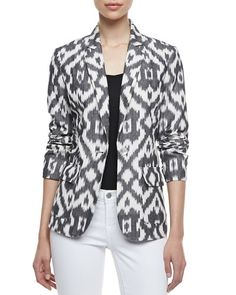 Jacket Lust Neiman Marcus Ikat One-Button Jacket Batik Blazer, Blouse Batik, Batik Dress, Kurta Designs, Blouse Designs, Ny Dress, Ikkat Dresses, Batik Fashion, Jackets For Women