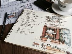 CoffeeSketch – Pitty's Cakes Jirahara – Roberth Jordan Architect Student, Gift For Architect, Architect Logo, Architect Drawing, Architect Design, Interior Design Sketches, Sketch Design, Tamizo Architects, Big Architects