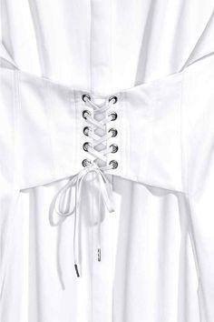 HM / Lange katoenen overhemdblouse met rijgsluiting