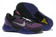 Nike Air Zoom Kobe VII(7) Mens Basketball Shoes Purple black         The Nike Zoom Kobe VII basketball shoe features a highly durable, cast polyurethane shell upper that provides durability and a performance fit. Mesh placed under the shell adds ventilation and a graphic pattern that tells the predator story. Next-generation Flywire technology offers lightweight support and lockdown. 3-D heel clip made of injected TPU