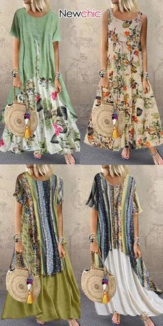 NewChic—Your Private Wardrobe, Women #Casual #PlusSize Floral Dress, Best #Outfits for #Vacation! Up to 70% OFF, Cool Price but Top Quality!
