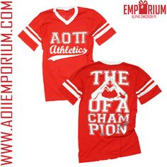 THE SYMBOL OF A CHAMPION!! ALPHA OMICRON PI CUSTOM CHAPTER ORDER!! INTRAMURAL JERSEY!! I read it as the heart of a champion. Regardless I love it!