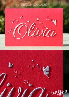 letterpers_letterpress_Geboortekaartje_Olivia_fluor_neon_roze_preeg_vlinder_engeltje Business Card Design, Creative Business, Business Cards, Welcome Baby, Graphic Design Posters, Stationery Design, Creative Kids, Letterpress, Birth