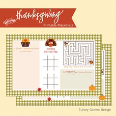 INSTANT DOWNLOAD Thanksgiving Printable Placemat for kids (Paper placemat, Tear-off Placemat, Thanksgiving kids games) #thanksgiving #activity