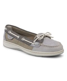 Look at this Gray Sparkle Angelfish Suede Boat Shoe on #zulily today!