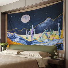 Tapestry Nature, Dorm Tapestry, Tapestry Bedroom, Tapestry Wall Hanging, Tapestries, Painted Rock Cactus, Blanket On Wall, Hanging Succulents, Bedroom Themes