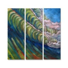 All My Walls Wave Stack by Olivier Longuet 3 Piece Original Painting Set