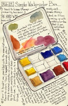 """simple Watercolor Box using a 'Fly Box"""" (for fishing flies)."""
