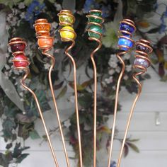 Copper / Metal & Glass Garden Art  Plant Stakes