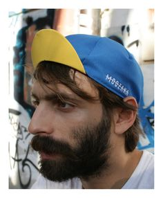 Moozaka Cycling Cap-Blue with Yellow brim and White embroidery Logo #moozaka #moozakabikestuff #builttoride #cyclingcap