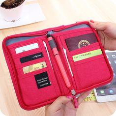 Паспорт держатель Загранпаспорта Обложка Card Case Женщины Карты Держатель Карты Паспорт Макияж Мешок Небольшой Карман На Молнии Для Путешествий