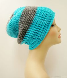 FREE SHIPPING - Mens or UNISEX Slouchy Crochet Beanie Hat - Nude & Light Sky Blue. $25.00, via Etsy.