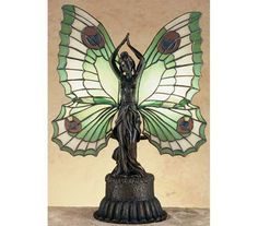 Art Nouveau Stained Glass Tiffany | Butterfly Lady Tiffany Stained Glass Accent Lamp - Home Decor, Accents ...