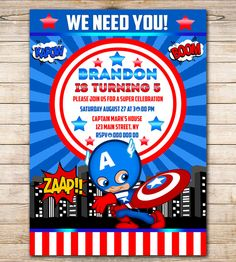 50% OFF SALE Super hero Captain America Birthday by Funparty2015