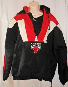 VTG Chicago Bulls Starter Jacket Coat Pull Over 1/2 Zip L Hood Black Red White