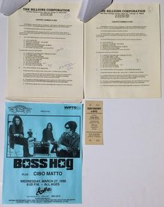 Boss Hog Concert Contract Piece Of Music, Concert Tickets, Pittsburgh Pa, Graffiti, Indie, Boss, The Originals, Poster, Billboard