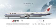 Boeing 787-9 Air China B-7899 | Highly Detailed Profile Prints | www.aviaposter.com | #airliners #aviation #jetliner #airplane #pilot #aviationlovers #avgeek #jet #sideplane #airport #zbaa #airchina #b787 #dreamliner