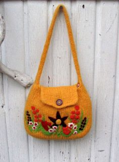 Bright yellow hand knit felted bag with beautiful by HandmadebyMia, $60.00