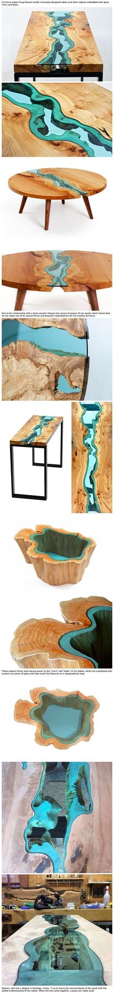 This guy uses raw wood and glass to create very clever pieces of furniture…: